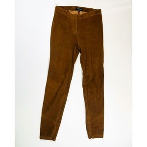 Lafayette 148 Slim Suede Leather Brown Pants 2